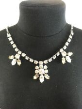 VIntage Clear Marquise Cut Rhinestone Necklace Wedding Prom Special Occasion