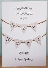 New Home / House Hand Crafted Card (Spotty Bunting Design) + Free UK Delivery