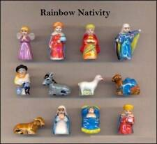 RETIRED MINIATURE PORCELAIN COLOR OF RAINBOW NATIVITY SET WITH BOX