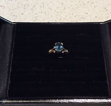 18ct Yellow Gold Ring with One Oval Blue Topaz  - Valued in 1992 at $640