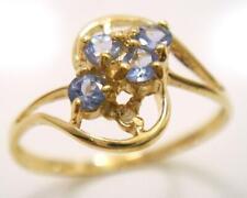 SYJEWELLERY 9CT YELLOW GOLD 4 STONE NATURAL TANZANITE & DIAMOND RING SZE N R1130