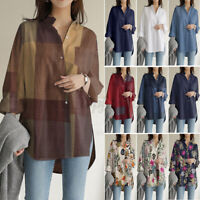 ZANZEA Womens Long Sleeve Tops T-Shirt Ladies Loose Button Floral Print Blouse
