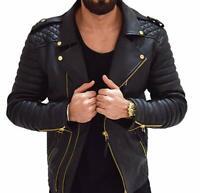 New Men's Leather Jacket Genuine Lambskin Motorcycle Slim Fit Biker Jacket RM008