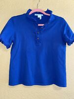 Draper James Blue Ruffle Neck Womens Blouse M