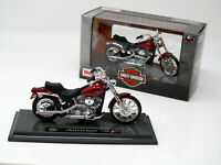 Modell Motorrad 1:18 HarIey Davidson 1984  FXST Softail  metallic rot Maisto