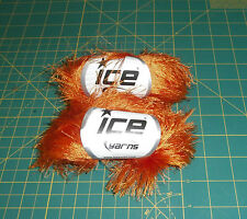 2 Skeins Ice Eyelash Yarn 50g Orange 100% Polyester Bulky