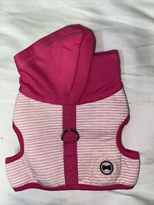 PUP CREW pink/ White Strip Hoodie/harness dog apparel new WITH TAGS  petco
