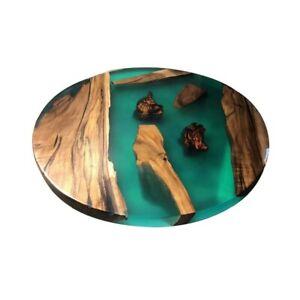 Beautiful Green Walnut Wooden Epoxy Center Coffee Table Top Handmade Furniture