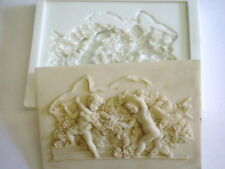 SILICONE RUBBER MOULD ORNATE CHERUB PLAQUE BUSINESS PLASTER RESIN CEMENT