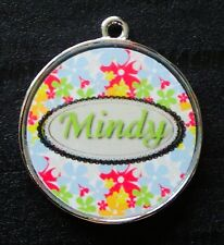 Sophie Green Floral w/ Pet's Name Pet ID Tags Dog Collar Charms Custom