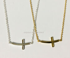 "Sterling Silver PLAIN CURVE SIDE WAY CROSS Pendant Necklace 16"" + 1"" + 1"" - 925"