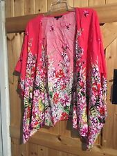 Lovely Pink Floral Flower Power Short Sleeved Cardigan Top Size 12 By New Look