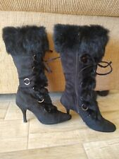 Stylish Women's Sz 6M Black Suede w Real Rabbit Fur High Heel Lace zip Up Boots