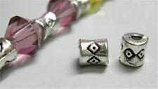 50 x 4mm Antique Silver Plated Spacer Beads - Tube Spacers - Diamond Design  NF