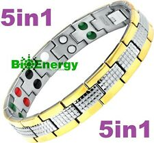 TITANIUM Magnetic Energy  Armband  Power Bracelet Health JADE 5in1 Bio GERMANIUM