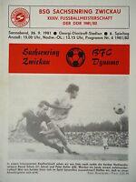 Programm 1981/82 BSG Sachsenring Zwickau - BFC Dynamo