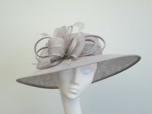 Pale Grey Wedding Occasion Races Hat