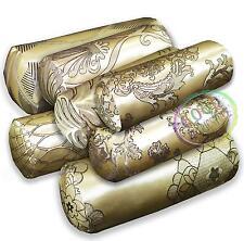 HC Pale Gold Lt Gold Jacquard Floral Curve Cotton Bolster Cover Case Custom Size