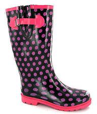Pink Polka Dot Black Wellingtons Wellies Womens UK 3-8