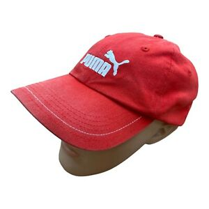 PUMA Embroidered Baseball Cap Hat Red White Spellout Logo Adjustable Sport