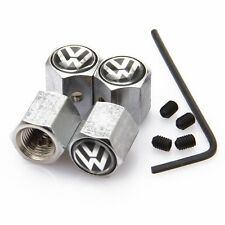 Metal Anti-Theft Locking Car Tire Air Valve Stems Caps Sets VW Silver b S318