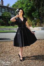 New Retro Vintage Pinup Couture Birdie Black Short Sleeve Swing Dress Large
