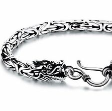"925 Sterling Silver Byzantine Fancy Link Men Dragon Gothic Bikers 7.7"" Bracelet"