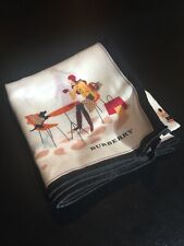 "Burberry Handkerchief 19.5""x19.5"" Autumn Girl In City & Dog Design [Japan]"