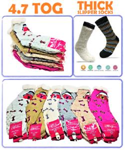 Ladies 3 Pair 4.7 Tog Thermal Fleece Socks Sherpa Lining Lounge Slipper Bed Sock