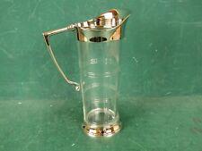 Karaffe Glas 1 Liter Krug Kanne mit Silberfarbenen Beschlägen und Zierschliff