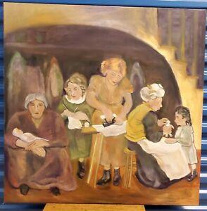 RARE Vtg Portrait Oil Painting Family Grandma Mother Girl Doll American Folk Art