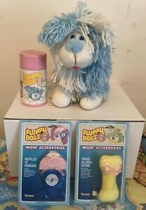 Vintage Disney Kenner Fluppy Dogs Lot 1985 Brave Plush Woof Accessories Thermos