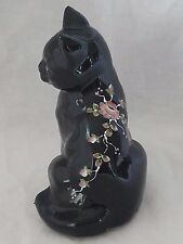 Fenton/QVC Copper Rose Black Hand Painted Sitting Cat....HP by Martha Reynolds
