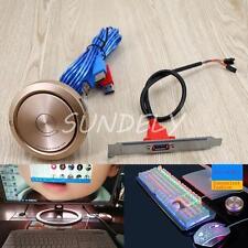 Desktop-PC case Switch With Dual USB Ports + Power Reset button + LED lights DE