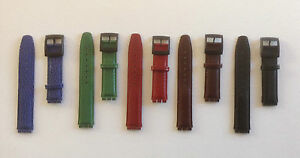 PADDED REPLACEMENT LEATHER STRAP FOR SWATCH BLUE/BLACK/BROWN/GREEN/RED - 17MM