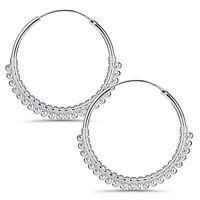 MATERIA Creolen Silber 925 Klappcreolen mit Kügelchen 20mm 30mm Damen Ohrringe
