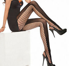 140-190 Lbs Plus Size Sexy Opaque Open Fishnet Premium Tights Black $19.95