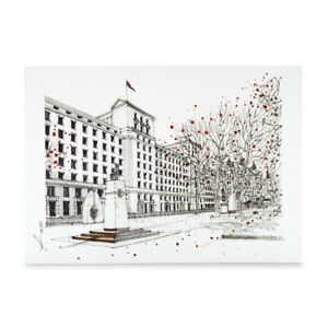 A3 Art Print of MOD Main Building Hand Sketched Military Linen Cardstock Poster