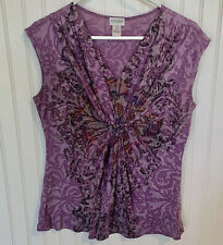 Motherhood Maternity Shirt Medium Top Purple Paisley Sleeveless V-neck