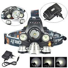 BORUIT 6000LM 3x XM-L T6+2R5 LED 18650 Headlight Headlamp Torch USB Lamp+Charger