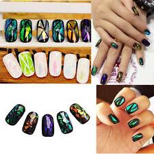Beauty DIY 5 Colors Fashion Broken Glass Foils Finger Nail Art Stencil Stickers