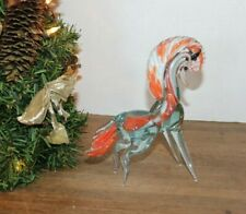 "Vtg Murano Hand Blown ""Orange Swirl Horse"" Art Glass Sculpture"