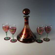 Signed Handpainted Glass Decanter Set with 4 Glasses