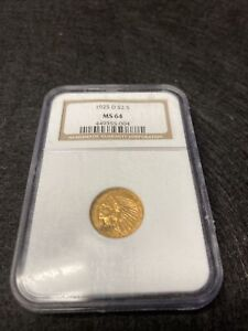 1925-D $2.5 Indian Head Quarter Eagle Gold Coin NGC MS 64