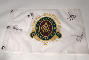 2001 PGA Championship Flag Multi Autographed Tiger Woods Harrington B. Andrade