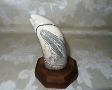 """Maritime Scrimshaw Replica Faux Whales Tooth Resin, Signed Cook 4 1/4"""""""