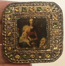"""Vintage MADONNA & CHILD Painting in a Jeweled Antiqued Gold Tone Brooch 1-3/4"""""""