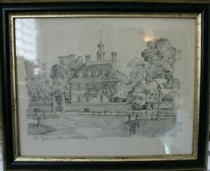VINTAGE Charles Overly Pencil Sketch SET/TWO PRINTS Monticello Williamsburg  T2