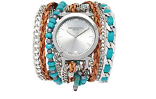 Sara Designs Leather Chain Wrap Watch Turquoise Multi Women 5119