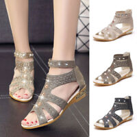 Fashion Ladies Women Summer Wedge Sandals Fish Mouth Hollow Crystal Roma Shoes